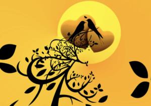 gelbes Bild mit Mond und zwei gezeichneten Vögeln und zwei Herzen
